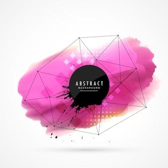 Rosa macchia acquerello con rete metallica