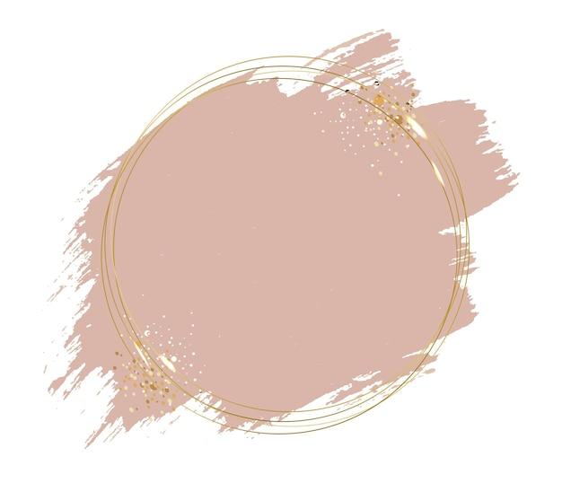 Розовая краска с золотой рамкой мяч на белом фоне