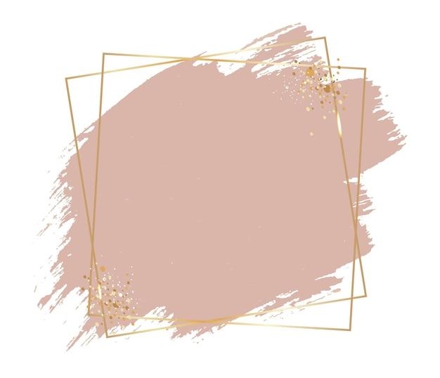 Розовая краска с золотой рамкой на белом фоне