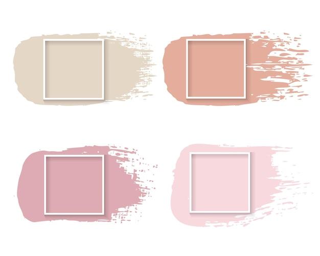 Розовая краска с белой рамкой на белом фоне