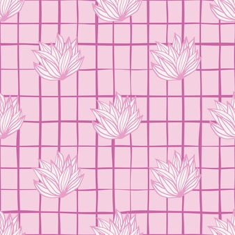 Pink palette leaves cluster seamless pattern. white foliage with pink contour and background with check.