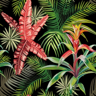 Pink palm leaves bromelia black seamless pattern wallpaper