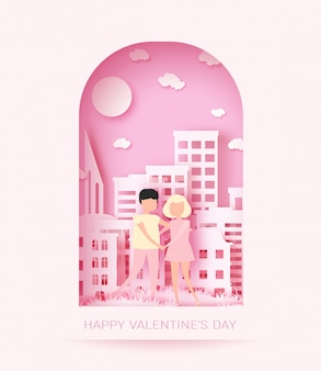 Pink paper couple background