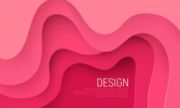 Pink paper cut background with pink waves layers