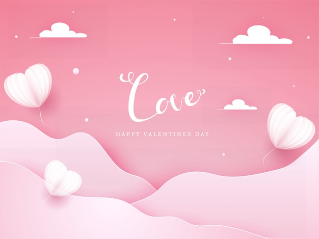 Pink paper cut wavy background decorated with origami heart shaped balloons and clouds for love, happy valentine's day celebration.