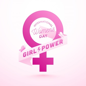 Pink paper female gender sign with butterflies and girl power text in ribbon for international women's day celebration concept.