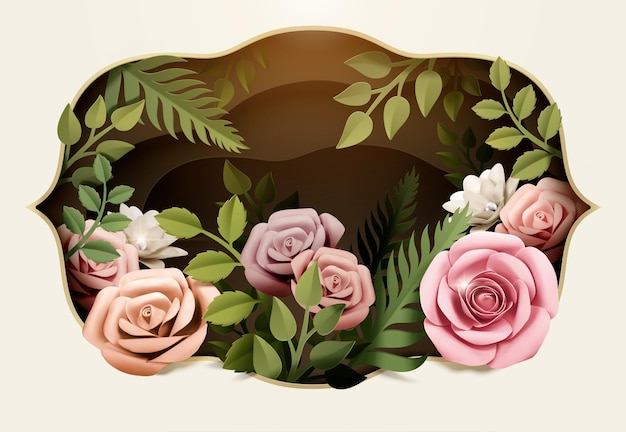Pink paper flowers with green leaves in 3d illustration