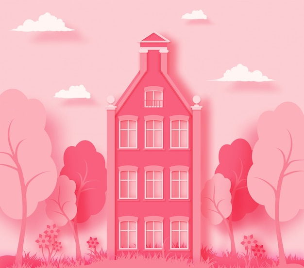 Pink paper landscape background