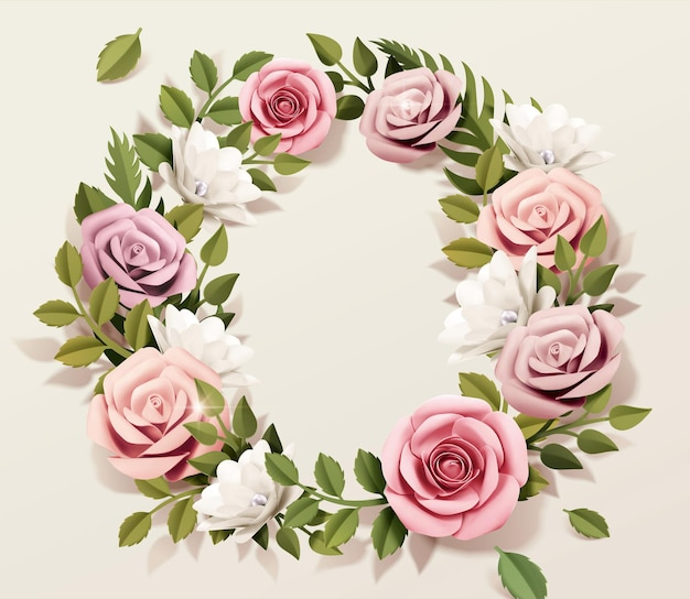 Pink paper rose wreath with green leaves in 3d illustration