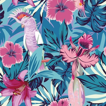 Pink parrot flowers and plants blue seamless pattern wallpaper