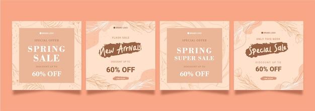 Pink pastel botanical theme social media feed sale
