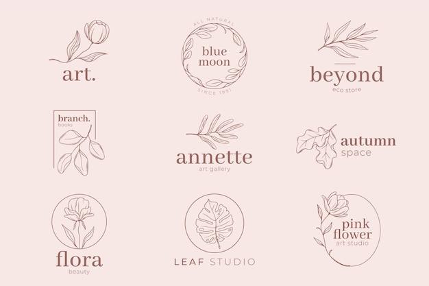 ピンクのパステルカラーの背景とロゴのテンプレート
