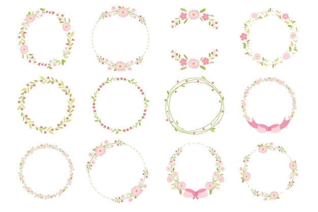 Pink pastel daisy spring wreath doodle flat style collection