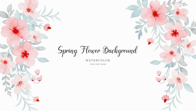 Pink pastel flower background with watercolor