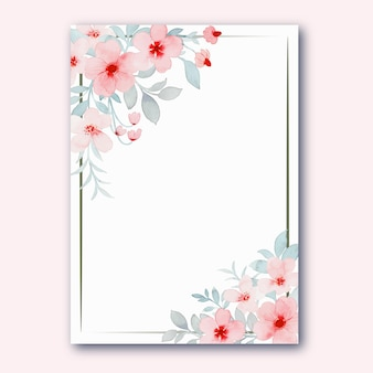 Pink pastel flower frame with watercolor