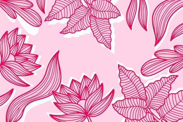Pink pastel linear tropical leaves background Free Vector