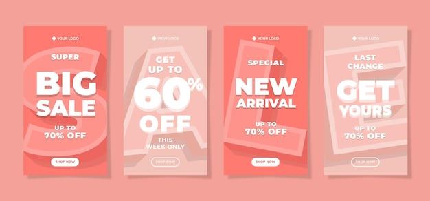 Pink pastel sale theme social media stories post template design set