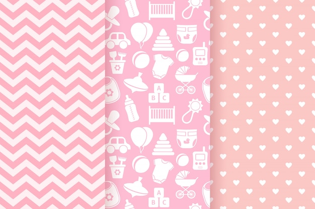 Pink pastel seamless patterns set
