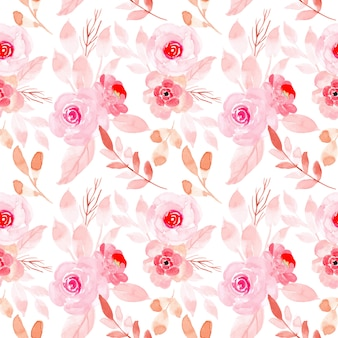 Pink pastel watercolor floral seamless pattern