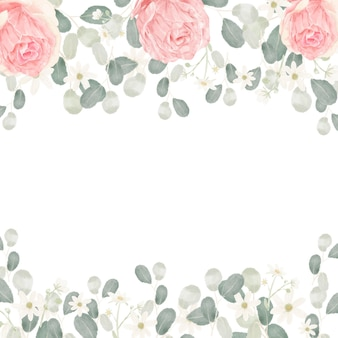 Pink pastel watercolor rose flower bouquet arrangement frame background