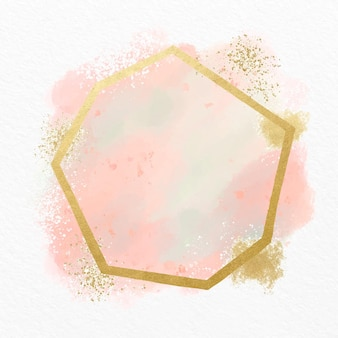 Pink pastel watercolor with golden frame Free Vector