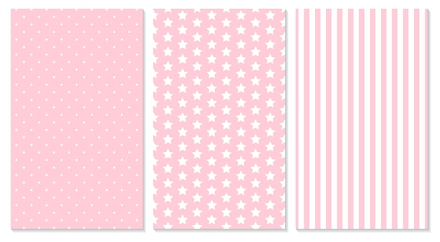Pink pattern. baby background.  illustration. polka dot, stripes, stars pattern.