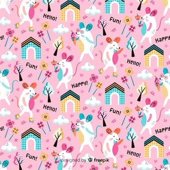 Pink pattern background of mouse and plants