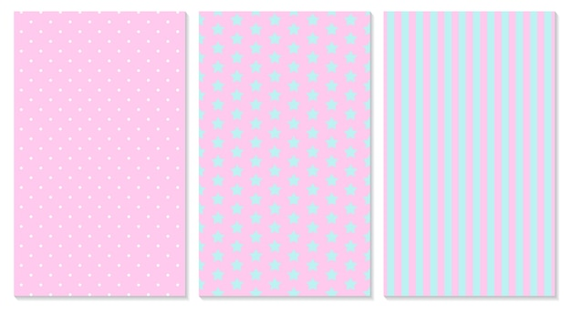 Pink pattern. polka dot, stripes, stars pattern.