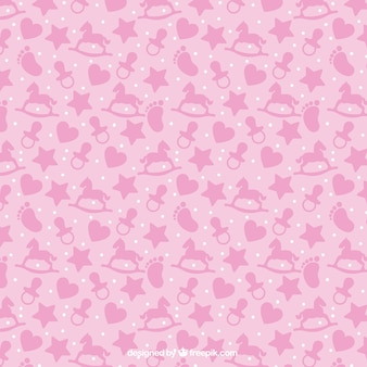 Pink pattern with baby items in flat design