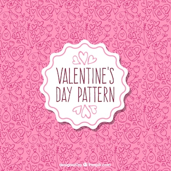Pink pattern with hand-drawn elements for valentine's day
