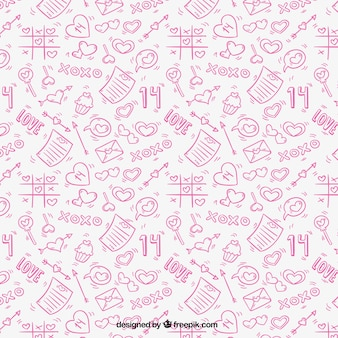 Pink pattern with hand-drawn love elements