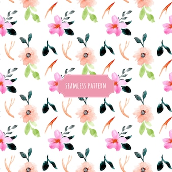 Pink peach floral watercolor seamless pattern