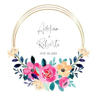 水彩の金色のフレームが付いているピンクの桃の花の花輪