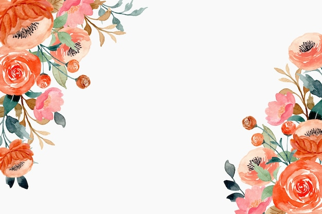Pink peach flower background with watercolor