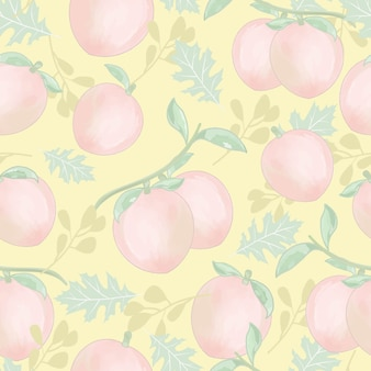 ピンクの桃の果実と緑の葉のシームレスなパターン。