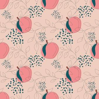 선형 잎과 무한 패턴의 핑크 복숭아 과일 원활한 패턴 벡터 일러스트 레이 션