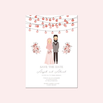 Pink peach lantern muslim couple portrait wedding invitation - walima nikah save the date template