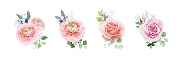 Pink peach roses set with greenery.