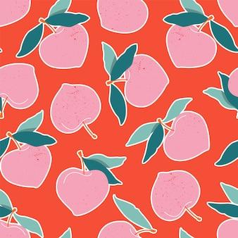 ピンクの桃のシームレスなパターン。