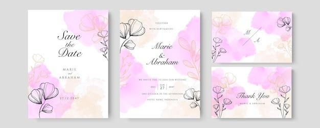 Розовый персиковый акварельный свадебный пригласительный билет с золотым цветочным декором. абстрактный фон сохранить дату, приглашение, поздравительную открытку, многоцелевой вектор