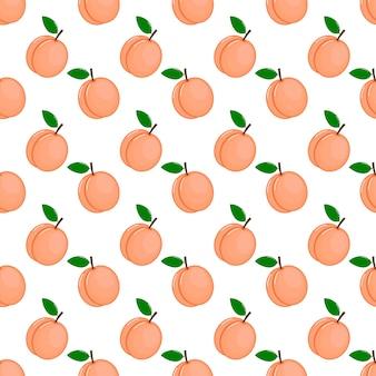 Pink peaches seamless pattern. fresh fruit on white