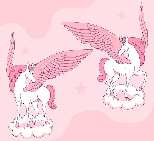Pink pegasus on clouds