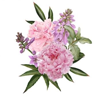 Розовые пионы, цветы хосты и ветка черники