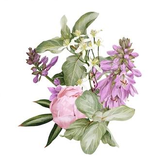 Розовые пионы, цветы хосты, клематисы и ветка черники
