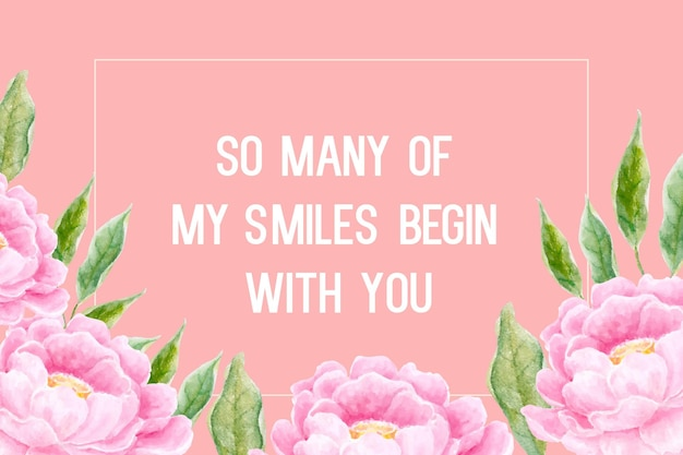 Pink peonies watercolor flower design for digital  greeting  card