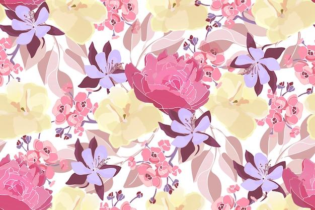 분홍색 모란, 노랑 비올라 및 자주색 콜럼바인 패턴