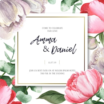 Pink peony blooming flower botanical watercolor wedding cards floral aquarelle