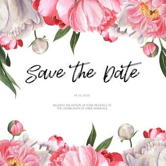 Розовый пион цветущий цветок ботанический акварель свадебные открытки приглашение цветочная акварель