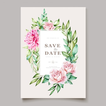 Pink peony blooming flower watercolor wedding cards template