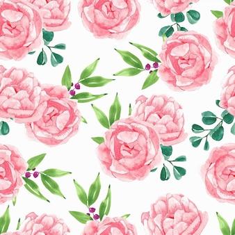 ピンクの牡丹の花の水彩画のシームレスパターン